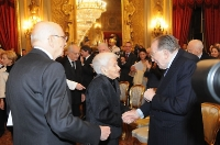Rita Levi Montalcini con Giorgio Napolitano e Giulio Andreotti