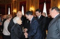 Rita Levi Montalcini con Giorgio Napolitano  e Romano Prodi