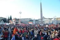 La Fiom in Piazza del Popolo